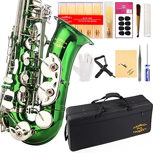 Glory Green/Silver keys E Flat Alto Saxophone with 11reeds,8 Pads cushions,case,carekit-More Colors with Silver or Gold keys ()