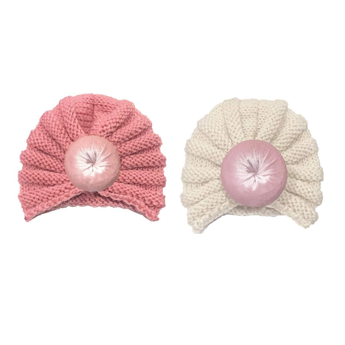 BESTOYARD 2pcs Bambini Autunno Inverno Cappelli di Lana Simpatico Berretto di Colore Solido per Bambini Cappuccio all'Uncinetto