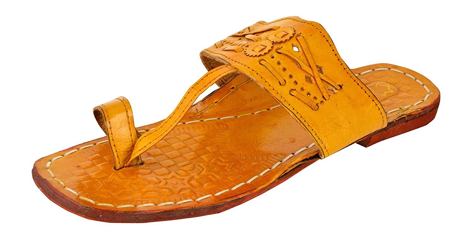 Kolhapuri Brown Leather Slippers cheap sale 2014 unisex sale low price qJ94casj