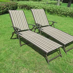 Amazon Com Outdoor Chaise Lounge Chair Set Folding Patio