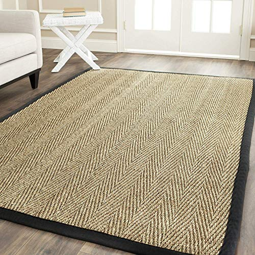 Natural Fiber Collection NF115C Herringbone Seagrass Area Rug, 10' x 14', Natural/Black, Home Decor Area Rugs Runner for Living Room Dining Room Bedroom