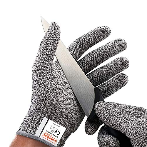 CustomGrips Cut Resistant Gloves, Level 5 Protection, Food Grade Safety Gloves for Oyster Shucking and Kitchen Work [Large, 1 Pair]