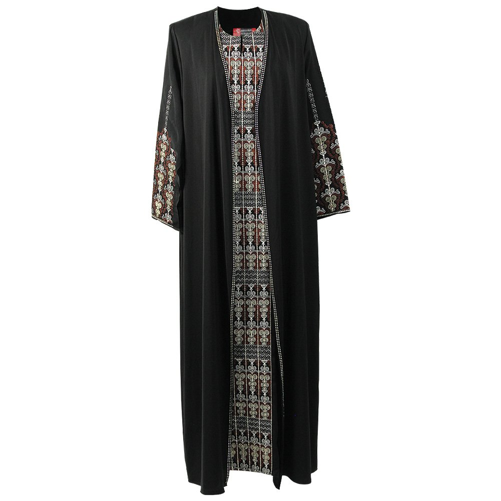 Women's Full Body Brown Candelabra Embroidery Two Layer Black Abaya Size 5