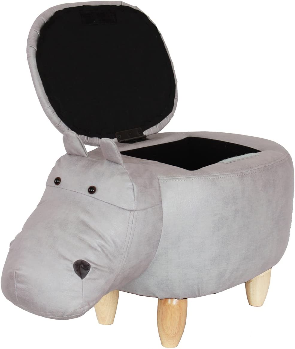 HAOSOON Animal ottoman Series Storage Ottoman Footrest Stool with Vivid Adorable Animal-Like Features Hippo grey