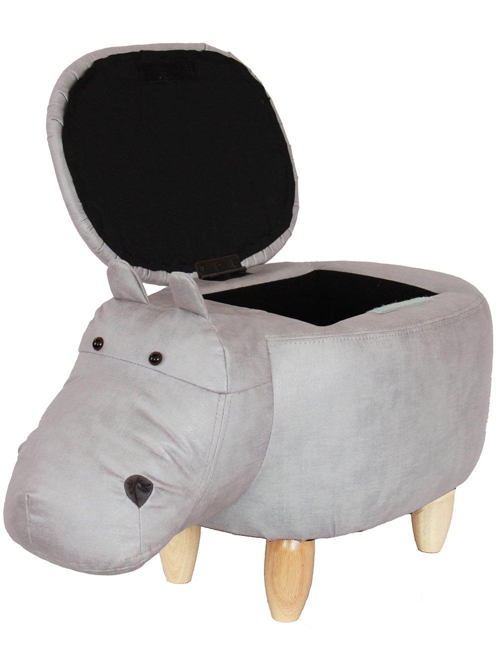 HAOSOON Animal ottoman Series Storage Ottoman Footrest Stool with Vivid Adorable Animal-Like Features(Hippo) (grey)