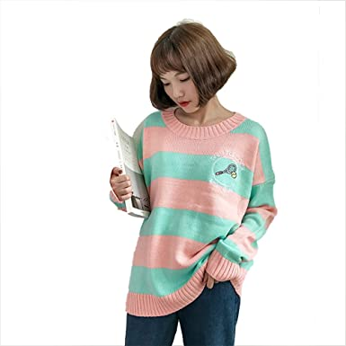 19f1689c59c6d8 NewCime Women s Oversized Crew Neck Color Block Casual Knitted Sweater Cute  Sweaters (Color   Pink
