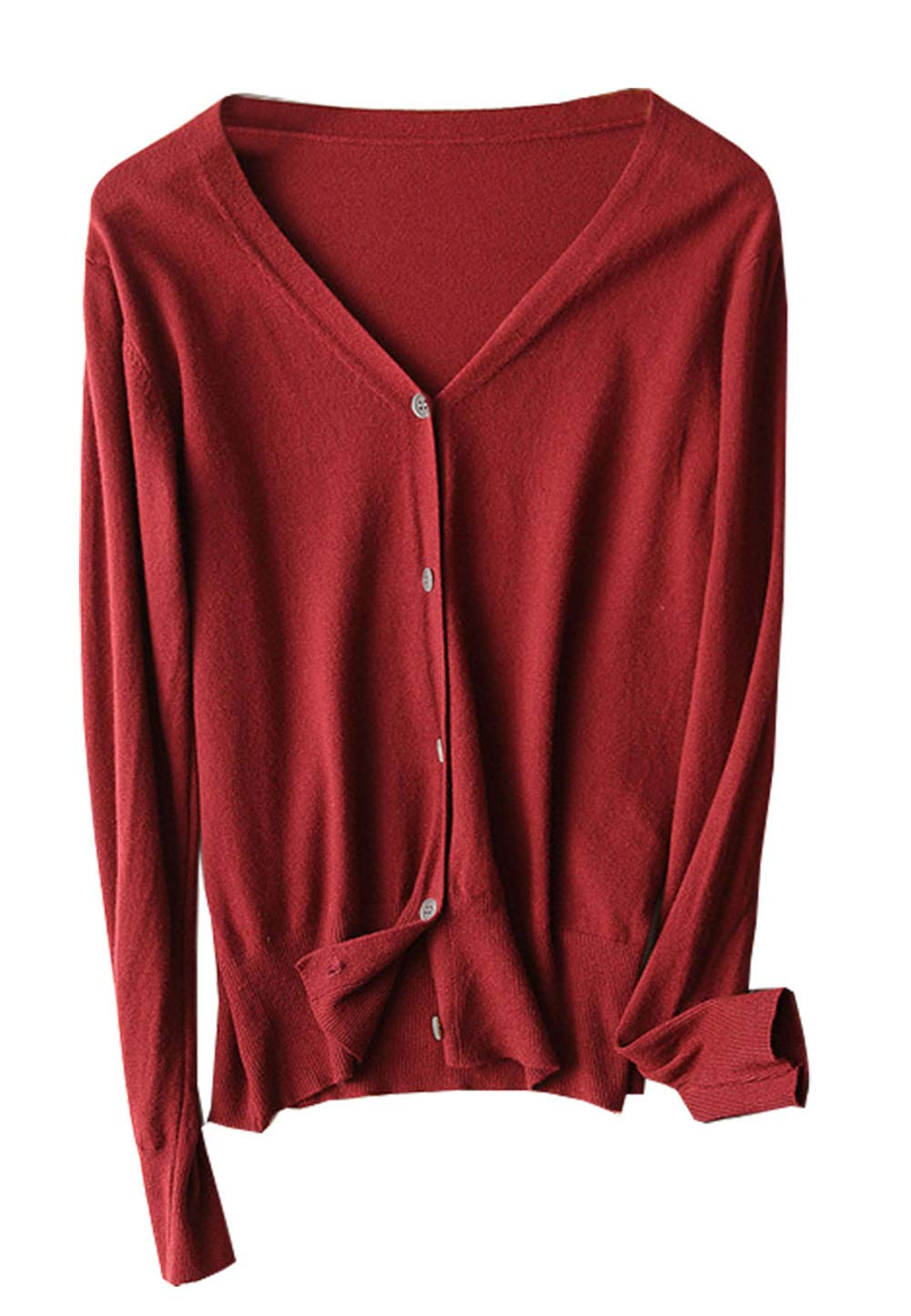 Les umes Womens V Neck Button Down Ribbed Knit Solid Soft Petite Cropped Sweater Cardigan Tops Wine Red US 6-8