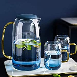 Glass Kettle Set Household Heat-resistant and High-temperature Explosion-proof Cooler Large Capacity Cold Water Teapot-3PCS SET