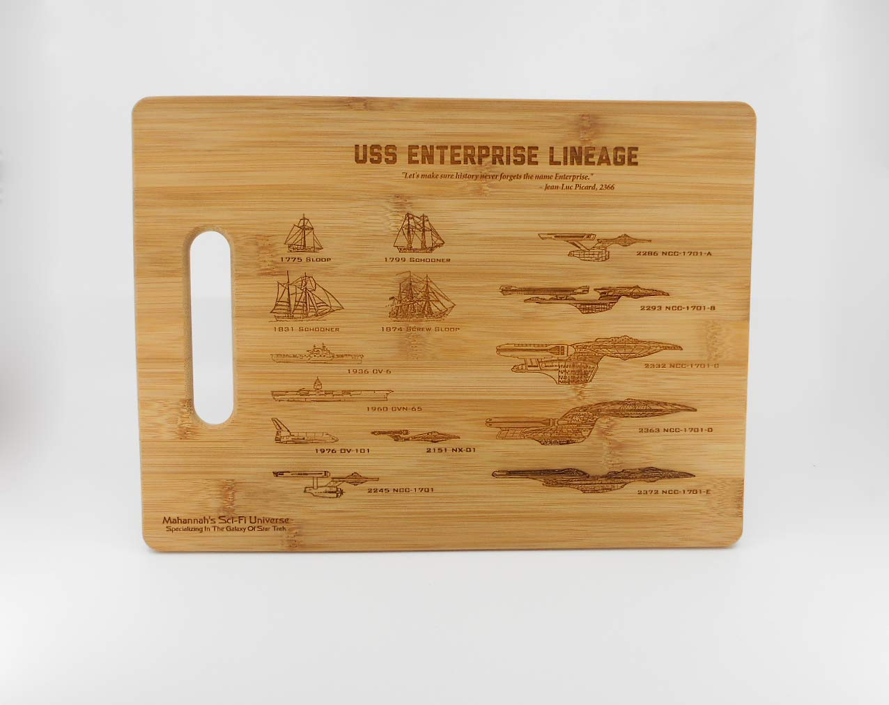 Mahannah's Sci-Fi Universe Bamboo Star Trek USS Enterprise Lineage Laser Engraved Decorative Kitchen Cutting Board