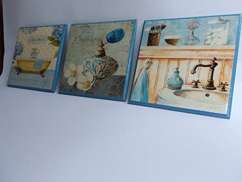 Amazon.com Decoupage wooden plaques, powder room wall decor