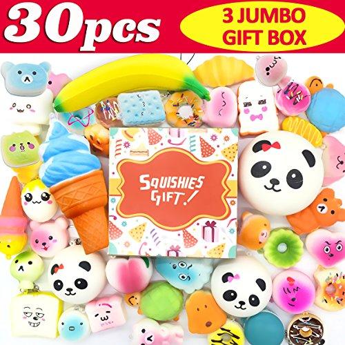 Symfury 30 Pack Squishies Slow Rising Toys 3 Jumbo 9 Medium 18 Mini Cake Cat Animal Panda Bun Fruit Unicorn Ice Cream Donut Food Banana Bread Squishy Kids Party Favors - 9 30 Ct