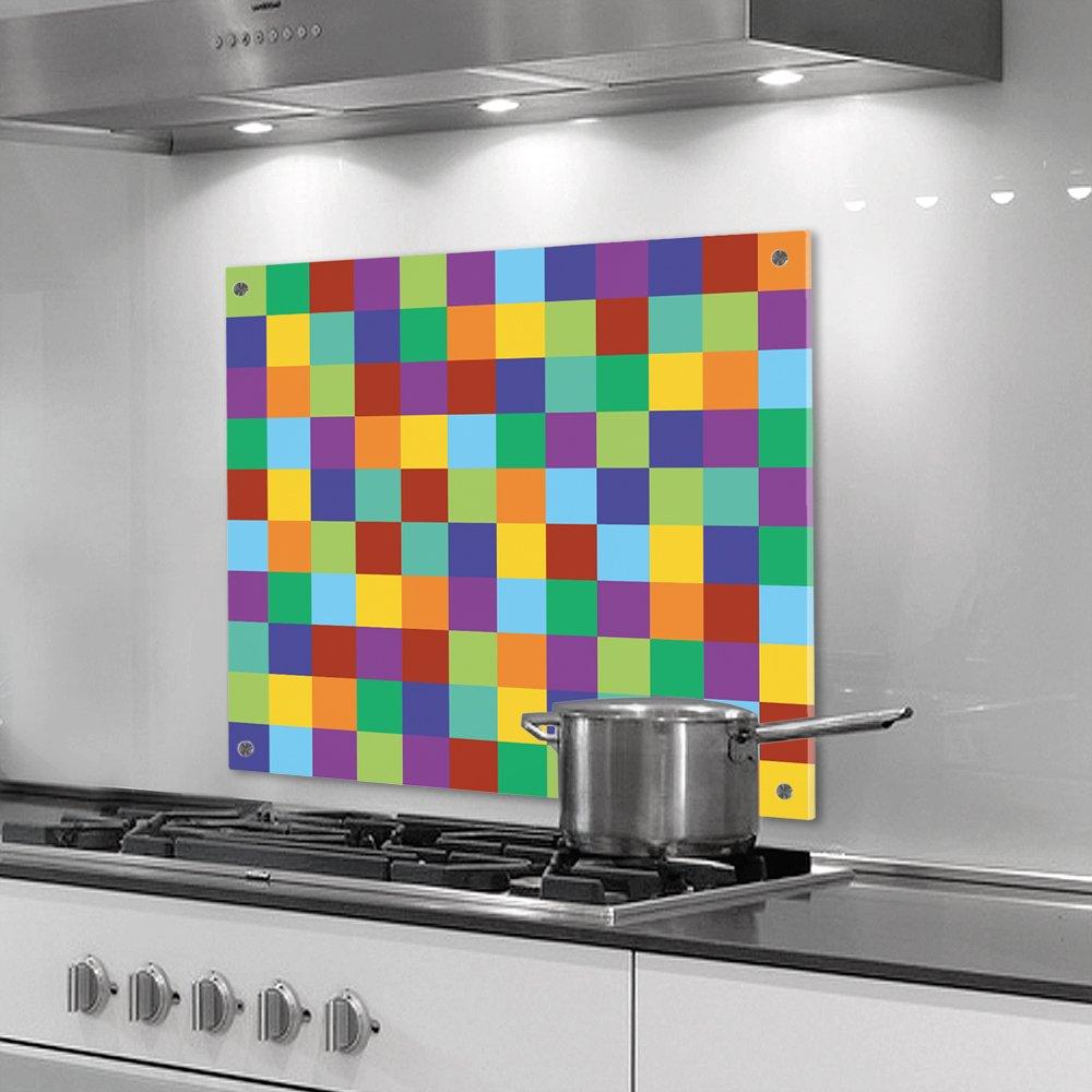 Küchenrückwand Aus Plexiglas   Motiv: Bunte Quadrate   Format 60 X 90 Cm  (Höhe X Breite)   Stylischer Wandschutz Und Spritzschutz Für Herd, Küche  Und ...