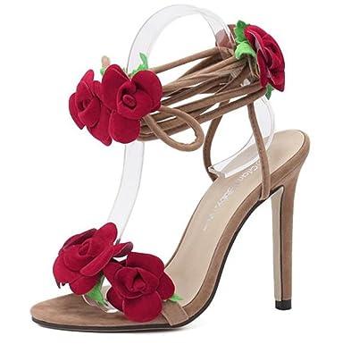 Women s Elegant Rose Cross Flower High Heeled Sandals D58-1(US 5.5 9b9a6340db82
