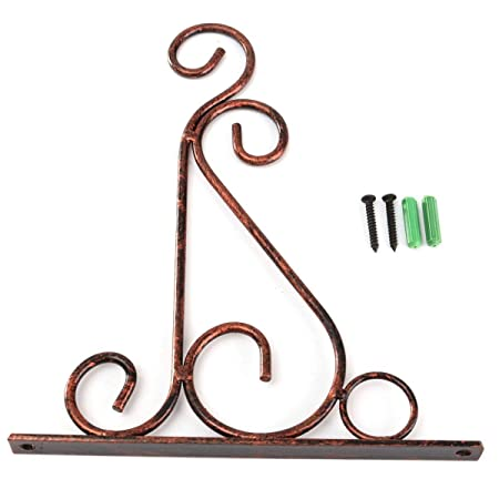 Kingso Wrought Iron Flower Pot Rack Hooks Wall Hanging Basket