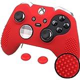 Pandaren® STUDDED peau de Housses Coque de silicone anti-dérapant pour les deux Xbox One Elite & Standard Manette x 1 (rouge) + thumb grip pouce poignées x 2