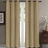 Willow Jacquard Taupe Grommet Blackout Window Curtain Panels, Pair / Set of 2 Panels, 42x96 inches Each, by Royal Hotel