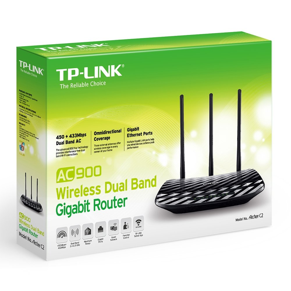 TP-Link AC750 Dual Band Wireless AC Gigabit Router, 2 4GHz 300Mbps + 5Ghz  433Mbps, 1 USB 2 0 Port, IPv6, Guest Network, WPS (Archer C2)