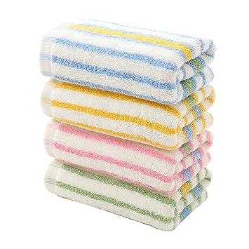 Yardwe Toalla de algodón a Rayas de Colores 4pcs Toallas de Cara Toallita de Secado rápido