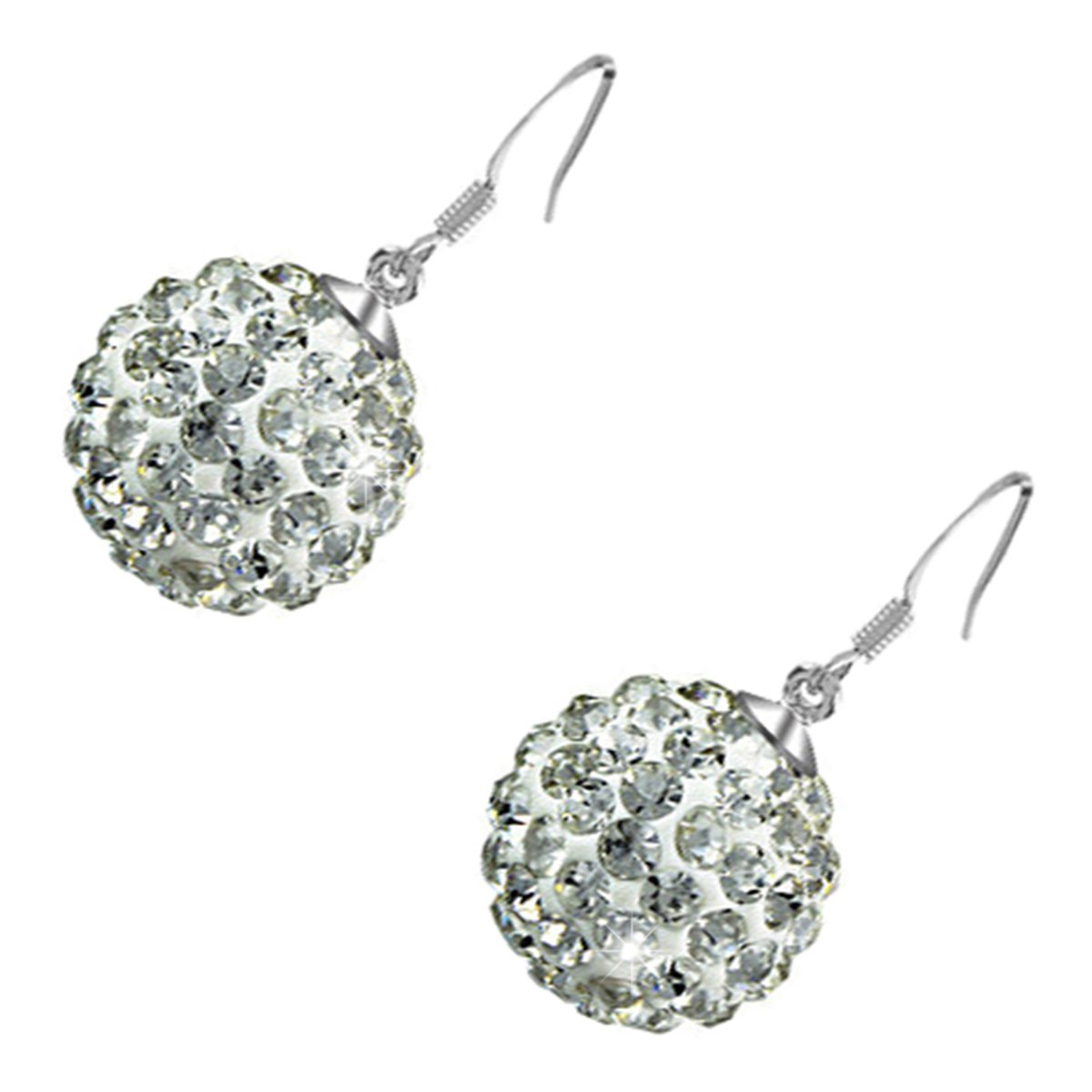 GWG Sterling Silver Plated Adorned with Sparkling Diamond Clear Crystals Ball Drop Earrings for Women