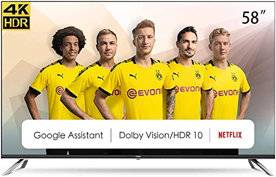 CHiQ Televisor Smart TV LED 58 Pulgadas, Android 9.0, Smart TV, UHD, 4K, WiFi, Bluetooth, Google Play Store, Google Assistant, Netflix, Prime Video, HDMI, USB: Amazon.es: Electrónica
