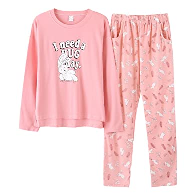 aed2d0584 Women's Knitted Cotton Pajamas Cute Rabbit Sleepwear Set Deep Pink Size M