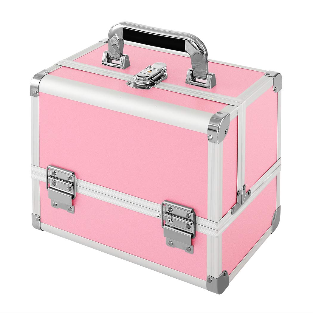 Makeup Train Case, MCvilla Professional Cosmetic Case 10'' Makeup Storage Organiser Box Durable PU & Aluminum Frame with 3 Trays, Mirror, Brush Holder and Key Lock - Pink