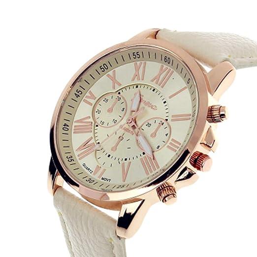 1502b7601 Moderno reloj de cuarzo analógico para mujer, modelo Ginebra. Reloj doble,  con pila y correa de cuero blanca: Amazon.es: Relojes