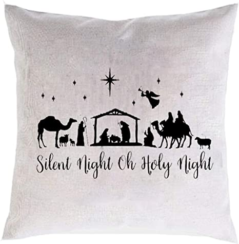 Silent Night Holy Night Pillow Cover-Christmas Decor-house warming-Holiday Decor