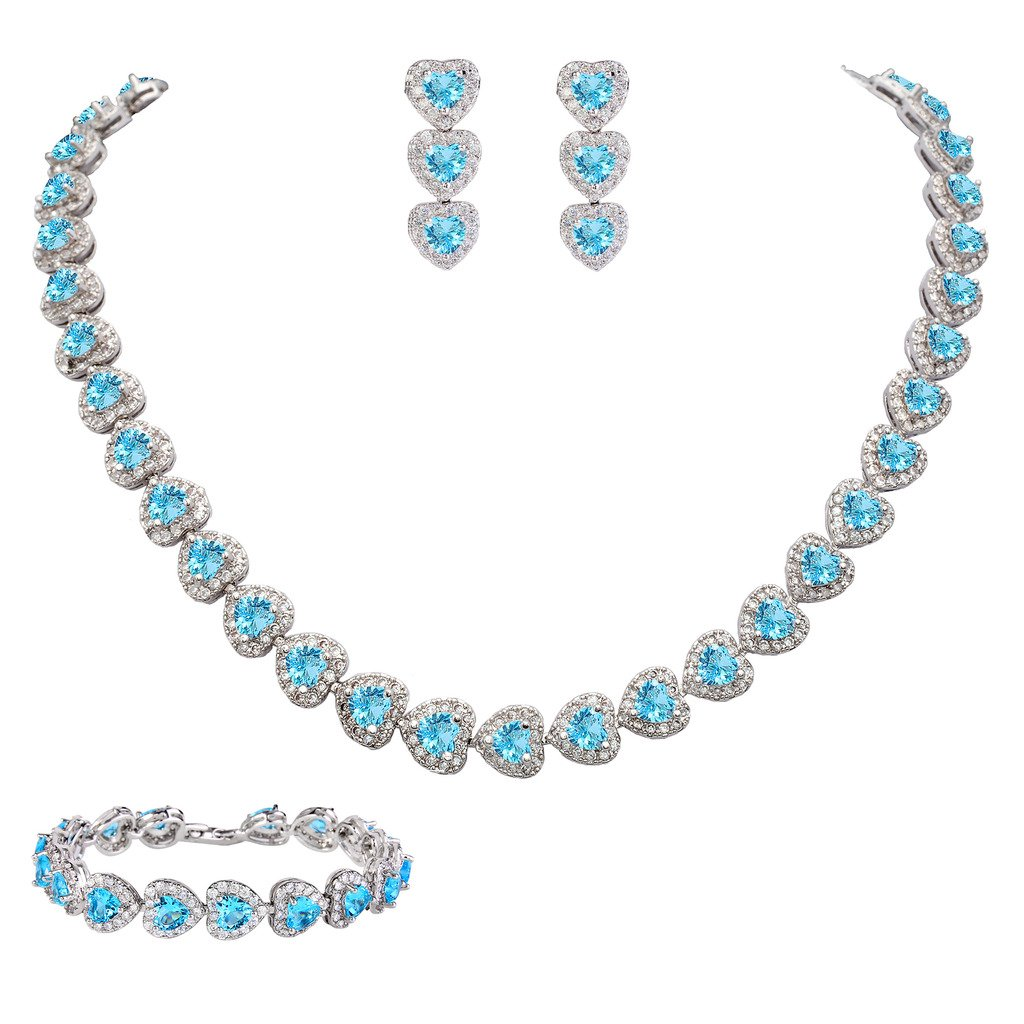 EVER FAITH Women's CZ Stunning Love Heart Tennis Necklace Earrings Bracelet Set Sky Blue Silver-Tone