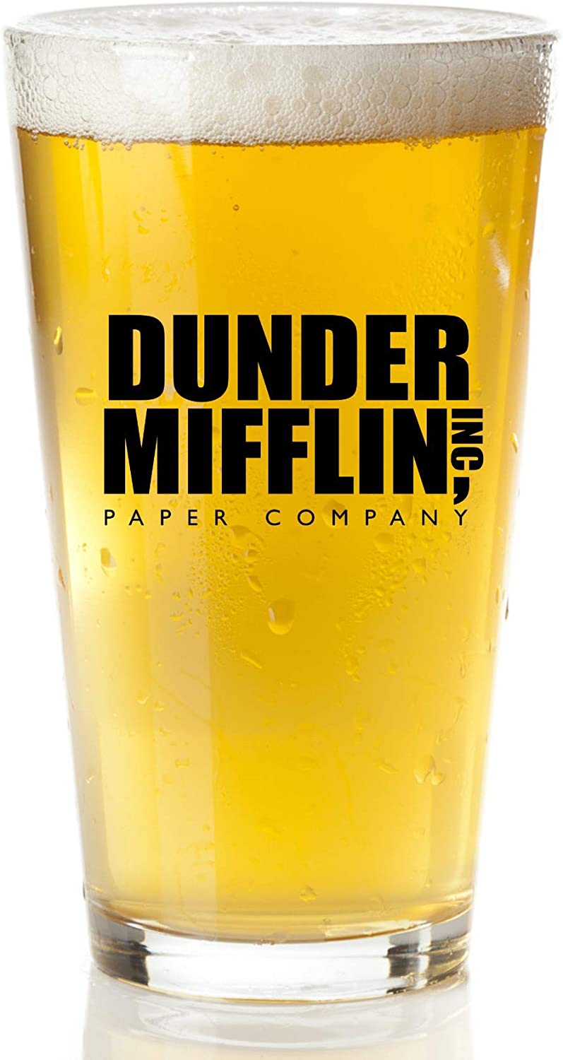 Dunder Mifflin Beer Glass - The Office Gifts From The Hit TV Show - The Office Merchandise Funny Mug For Men And Women
