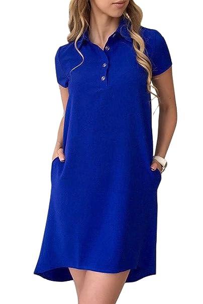 Zilcremo Las Mujeres con Cuello con Boton Sport Mini Vestidos Vestido Túnica De Sólidos Azul S