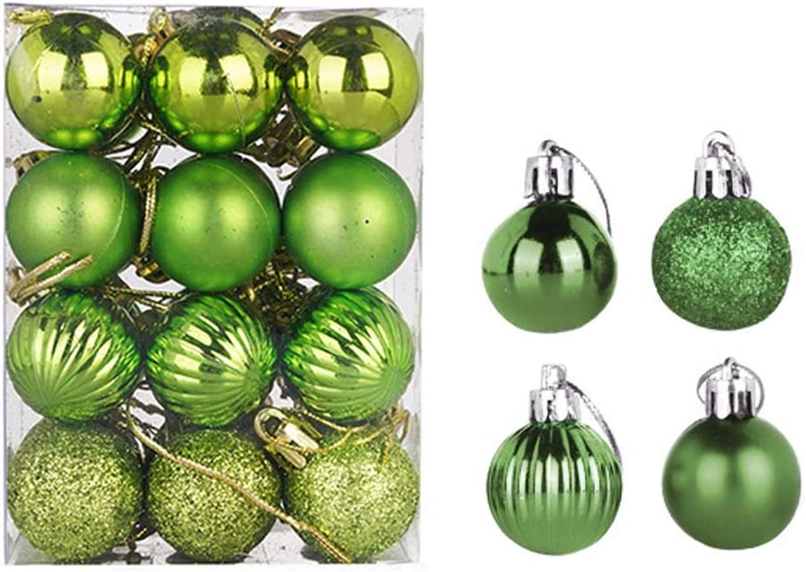 24 pcs Christmas Balls Ornaments Xmas Trees, Wedding Party Decoration Window Dressing, Christmas Tree Decoration Ball (3cm, Green)