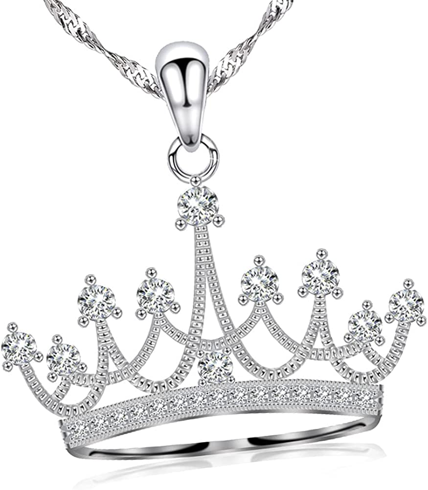 GemsChest Sterling Silver Round Cubic Zirconia Crown Pendant Necklace Queen Jewelry for Women with 18