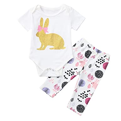 19c08a768c93 Amazon.com  3M-18M Newborn Infant Baby Girl Outfits Easter Rabbit ...