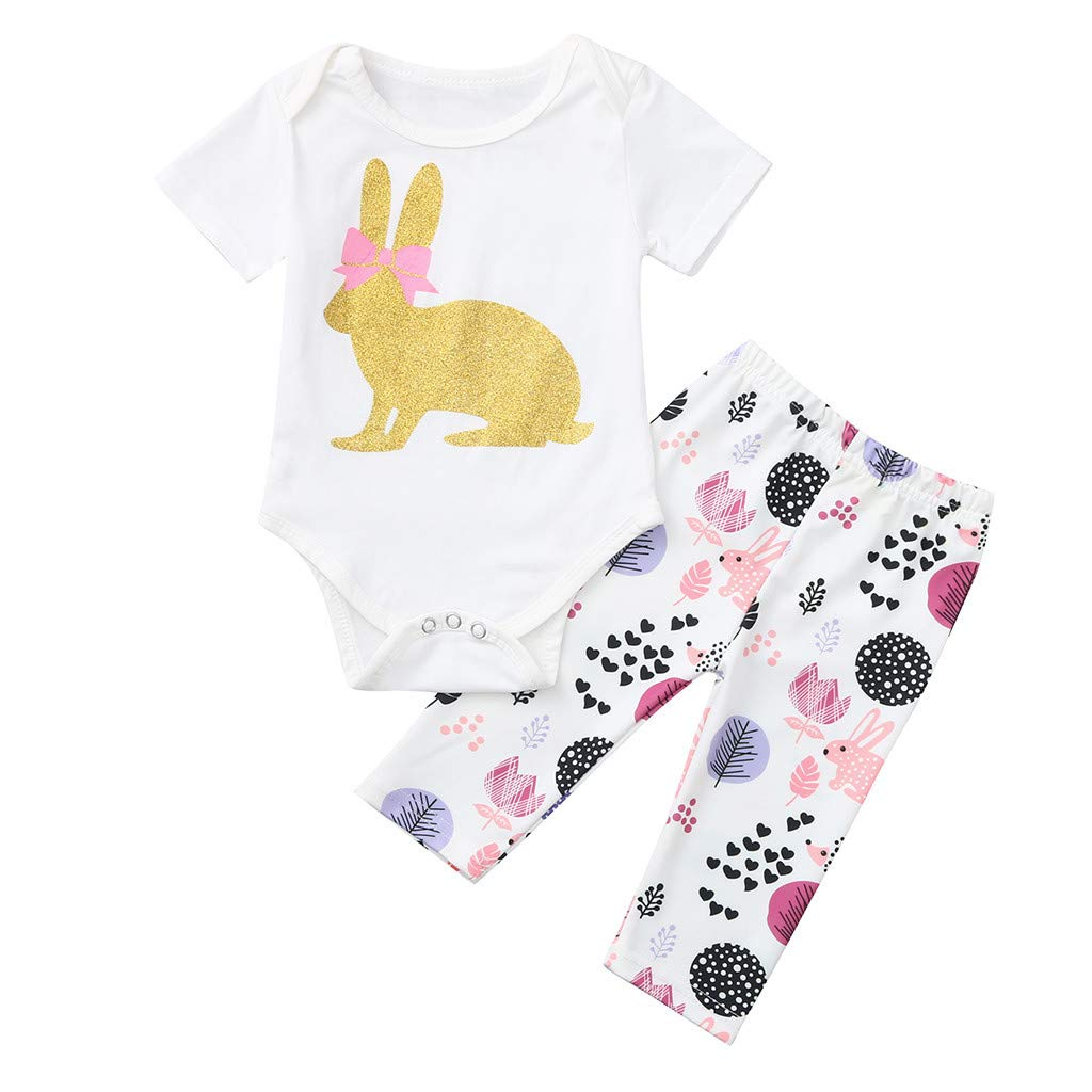 2pcs Newborn Baby Romper, 2019 Infant Girl Easter Bunny Summer Outfits Tops +Floral Print Pants Set, (0-3 Months, White)