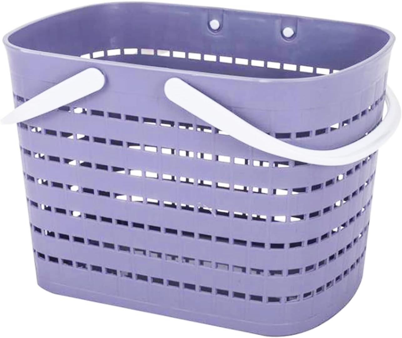JiatuA Plastic Storage Basket with Handle, Shower Caddy Tote Organizer Bins for Bathroom Dorm Kitchen Office Home