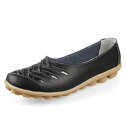 Surprising Day Fashion Genuine Leather Casual Loafers Shoes Women Sandals Summer Shoes Flats with Hollow Doug Nurse Shoes Brown 7.5