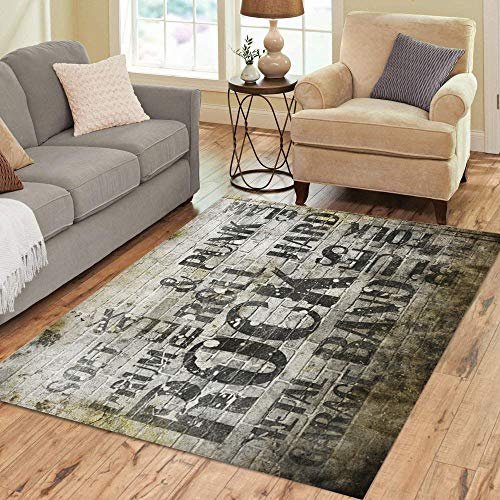 Semtomn Area Rug 3' X 5' Roll Rock Music Wall Concert Vintage Black Brick Club Home Decor Collection Floor Rugs Carpet for Living Room Bedroom Dining Room