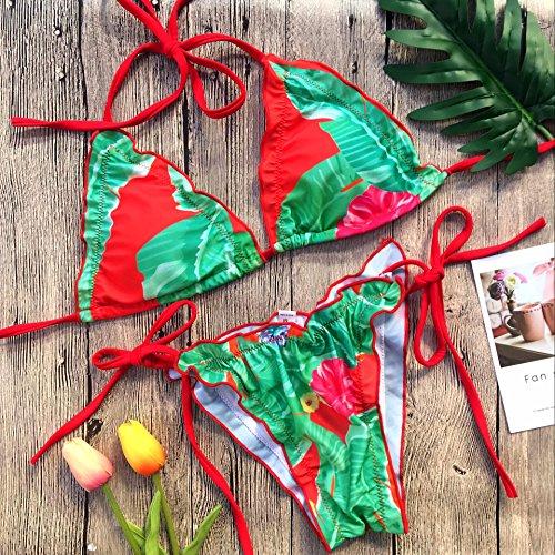 XIAOHUAHUA Le Rouge Et Vert Feuille D'Impression Peut Ajuster Les Biellettes De Hot Spring Holiday Bikini Maillot De Trois Points