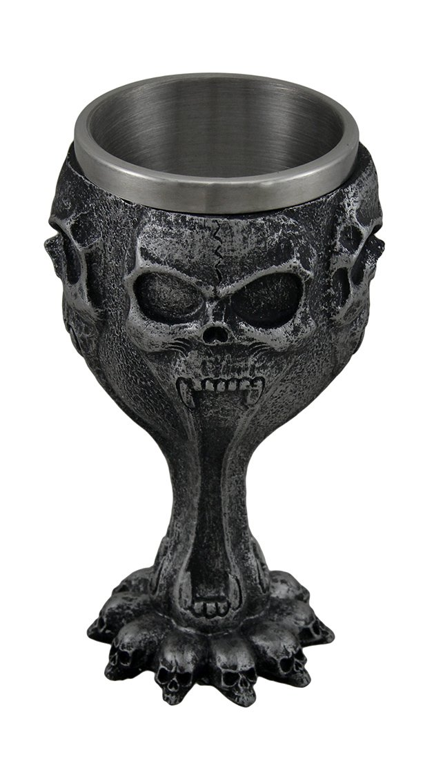 Stainless Steel Goblets Silent Screaming Skull Face Metallic Black Drinking Goblet 3.25 X 6.5 X 3.25 Inches Black