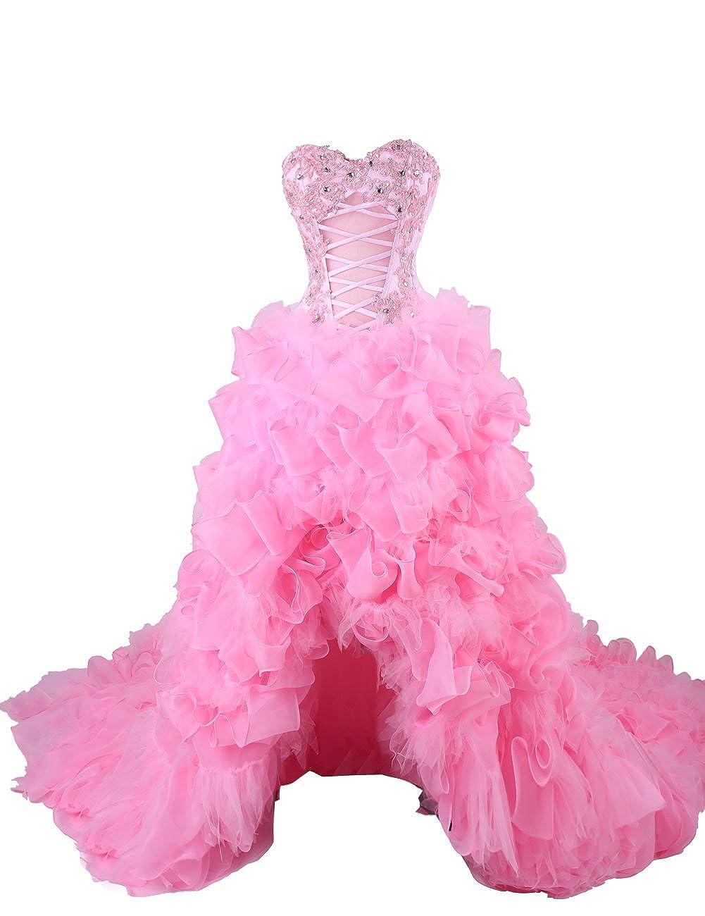 Dresstells - Vestido de alta baja boda Prom Vestido con tren rosa ...