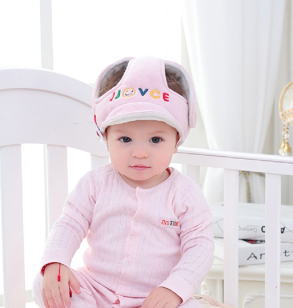 Baby Children Infant Safety Protective Cap, Baby Toddler No Bumps Head Cushion Bumper Bonnet (pink)
