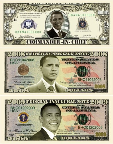 Barack Obama 44th President Triple Collectors Bill Collector Set 1-One Million Dollar Bill, 1-2008 FEDERAL OBAMA NOTE Bill & 1-2009 FEDERAL INAUGURAL NOTE 2009 Dollar Bill by DK HUSKY RACING