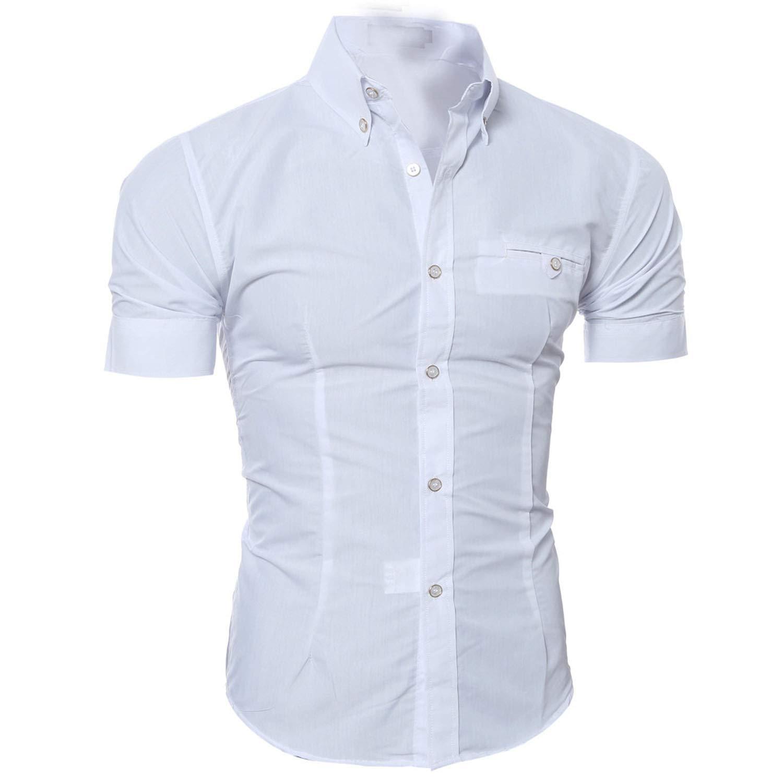Jamais-Vu Mens Shirt Short Sleeve Shirt Mens Casual Button Down Shirts Mens Fashion Shirt,White,XXL