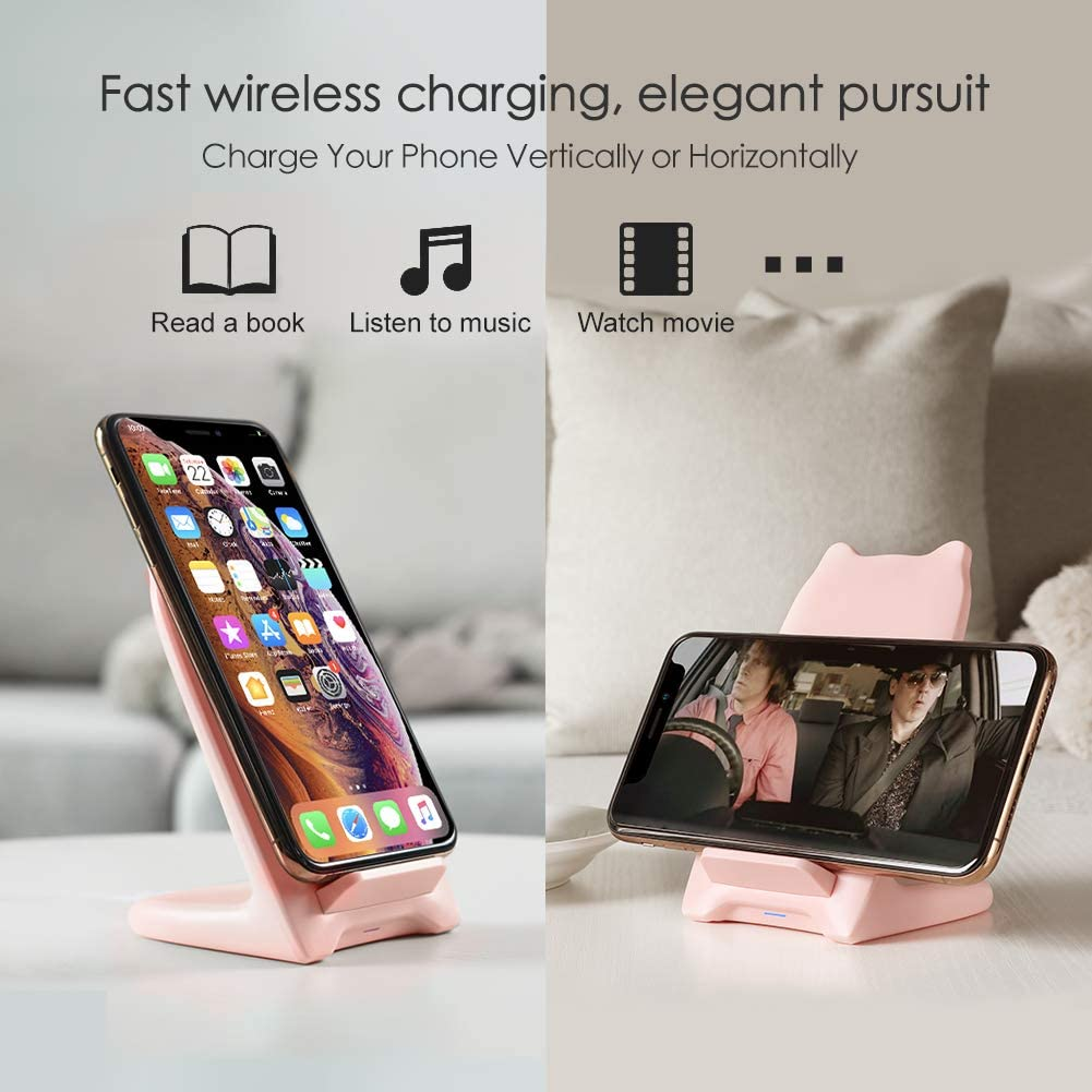 Fast Wireless Charger Stand, Nillkin Qi Certified Wireless Charging Pad Stand 7.5W Compatible for iPhone 11/X/XS/XS Max/XR/8/8 Plus, 10W for Samsung ...