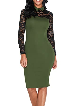 dfc0deab25 Elapsy Womens Black Lace Long Sleeve Classic Collar Bodycon Vintage Party  Midi Dress Olive Small