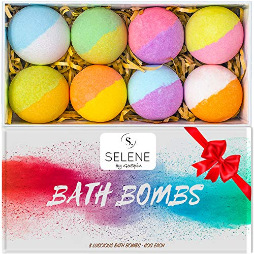 GoSpin Selene Bath Bombs Giftable Set For Kids, Women (8 Pack) - Lush Spa Fizzies To Moisturize Dry Skin - Perfect Present Idea for Her, Mom, Girlfriend, Holiday, Birthday - Handmade, Vegan ()