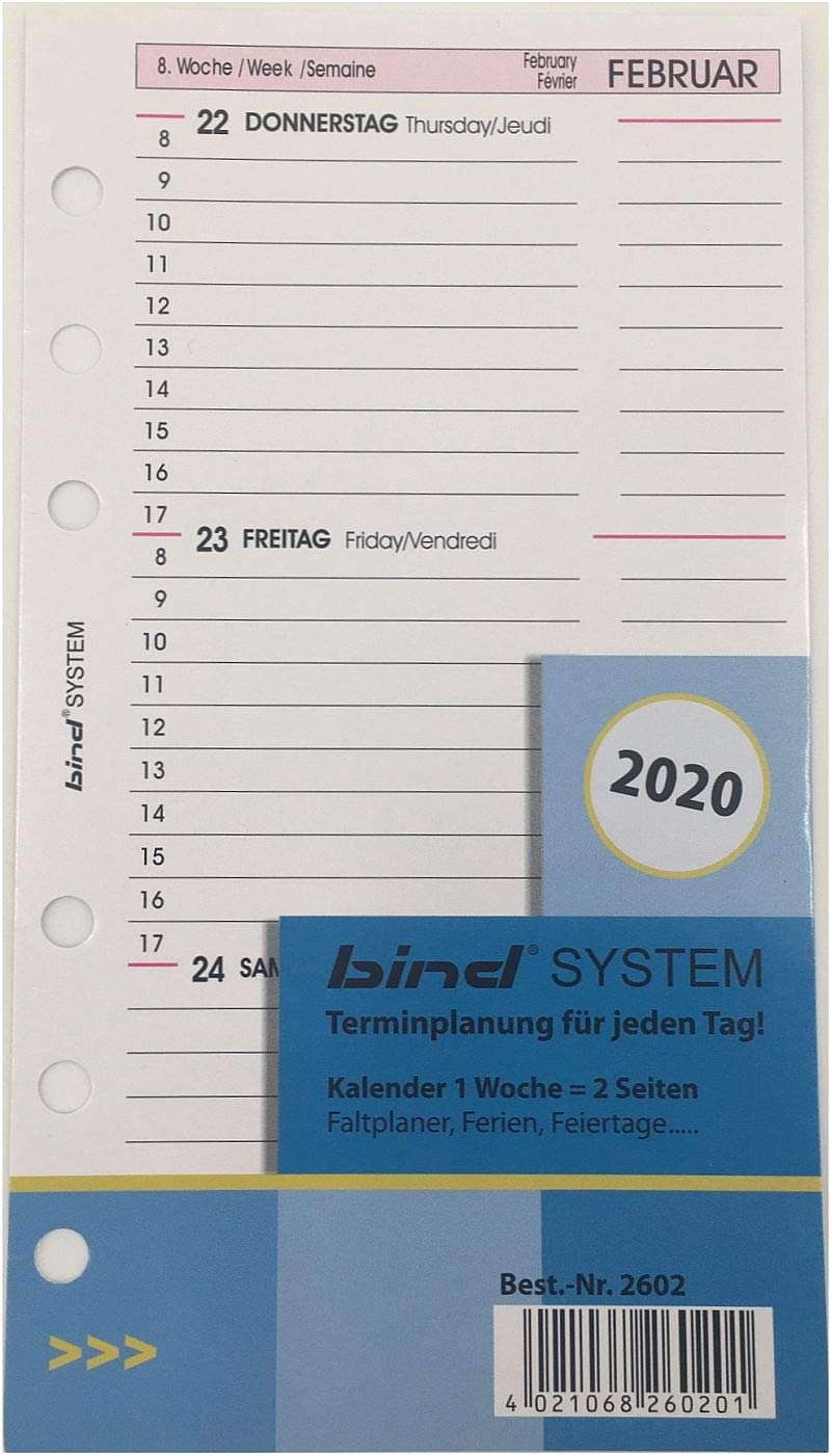 bind Ersatzkalender 2021 für Terminplaner A6 Modell 10603 Wochenkalender