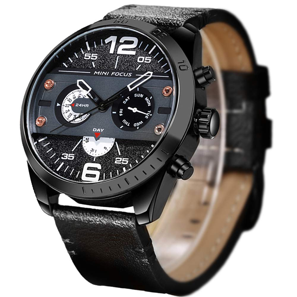 Mens Watch,Stone Casual Business Dress Sport Watch Analog Quartz Wrist Watch Leather Band
