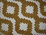 McAlister Textiles Arizona | Funky Moroccan Geometric Striped Chenille Ochre Mustard Yellow Fabric Swatches